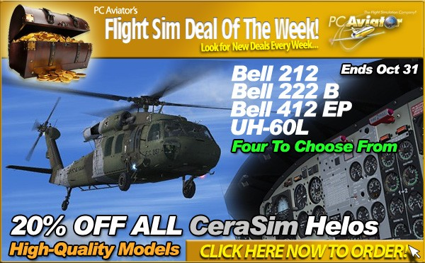 All Cera Sim FS Helicopter Add-ons are 20% OFF until October 31 at PC Aviator Australia