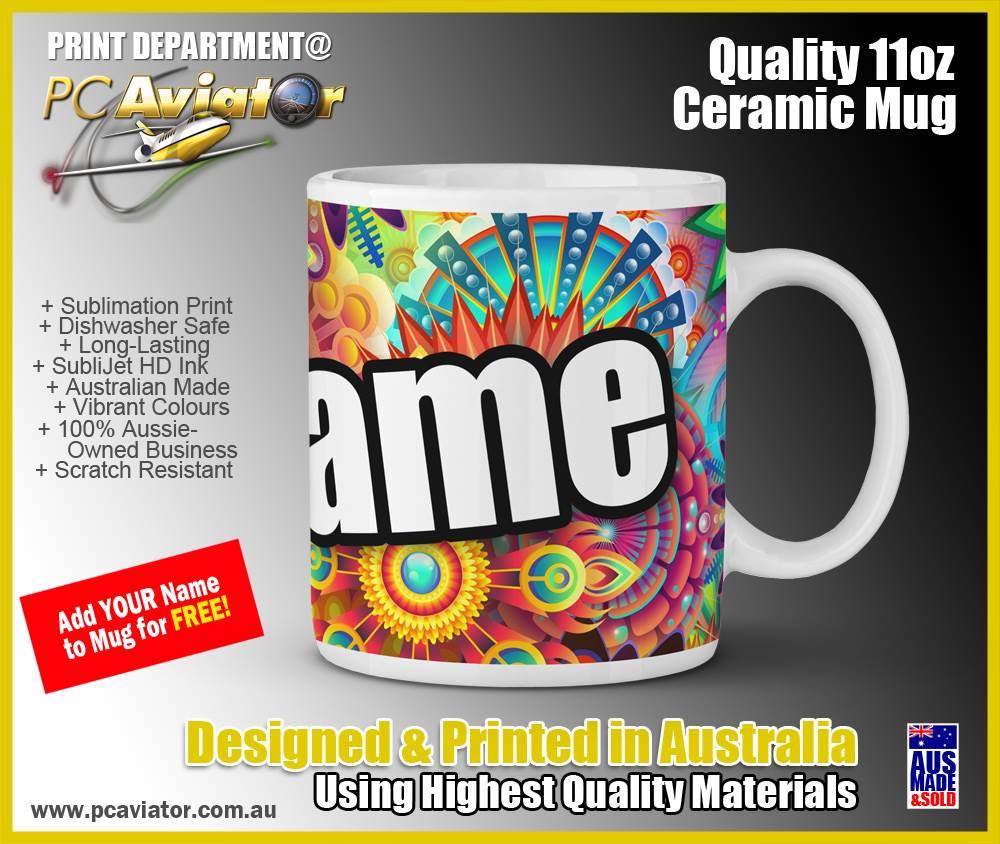 Abstract Colourful Hippie Design - 11oz Ceramic Coffee Mug (Free Shipping)