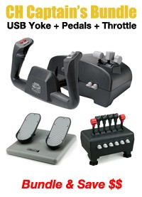 CH Products Captain's Bundle (Incl Yoke+Pedals+Throttles)