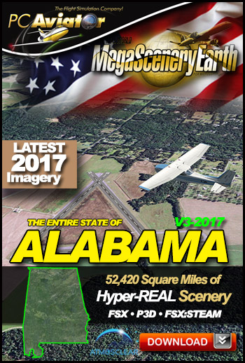 MegaSceneryEarth 3 - Alabama 2017 (FSX/FSX:SE/P3Dv1-v4)