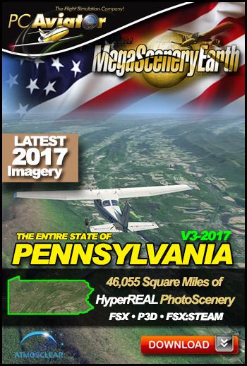 MegaSceneryEarth 3 - Pennsylvania 2017 (FSX/FSX:SE/P3Dv1-v4)
