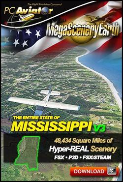 MegaSceneryEarth 3 - Mississippi (FSX/FSX:SE/P3Dv1-v4)