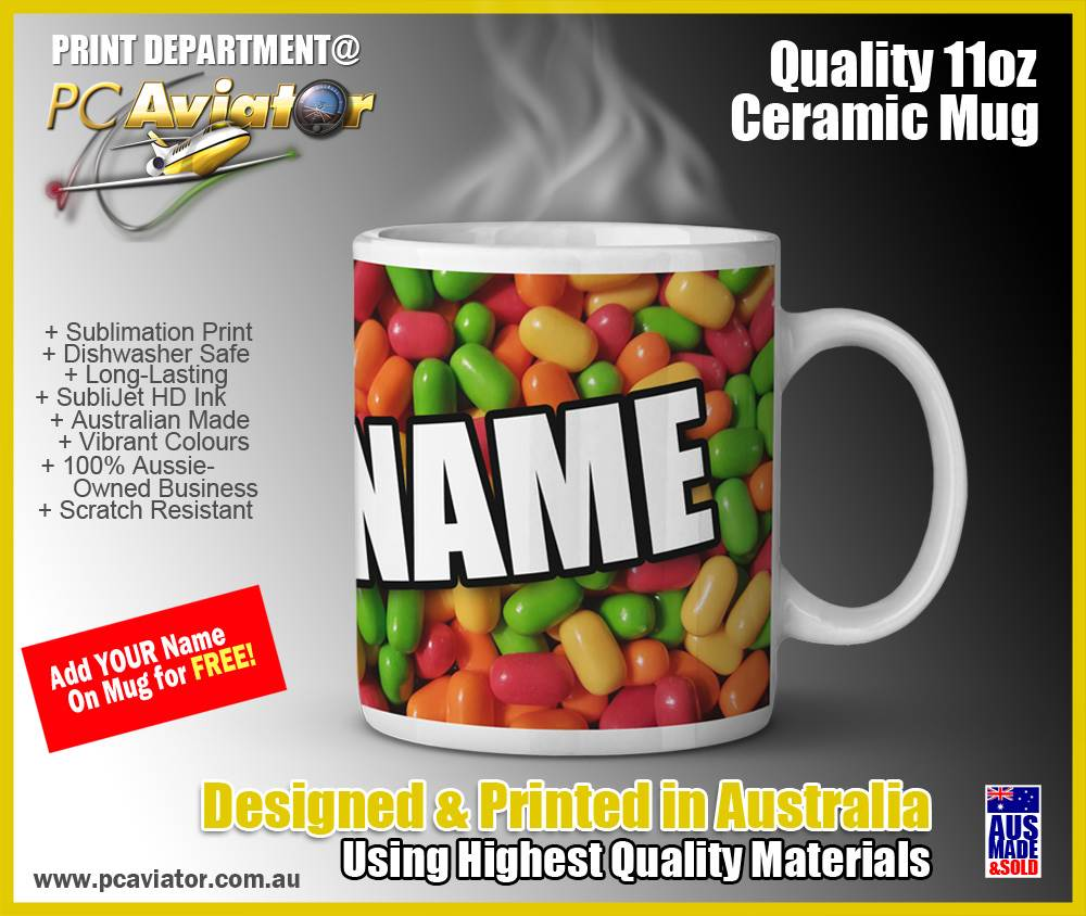 TicTac Style Custom Name 11oz Ceramic Coffee Mug (Free Shipping)