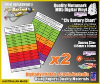 12v Wet Flooded Battery SOC Charge Chart Sticker x2