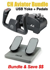 CH Products Aviator Bundle (Incl. USB Yoke + Pedals)
