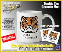 Easts Volleyball Club 11oz Ceramic Mug with 2x Easts Neoprene Coasters