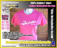 "Ladies ""Elite Volleyballer Inside"" 100% Cotton T-Shirt (3 Colours)"