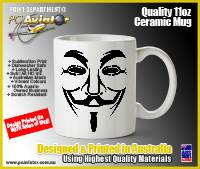 Guy Fawkes / Anonymous Styled 11oz Ceramic Coffee Mug (Free Shipping)
