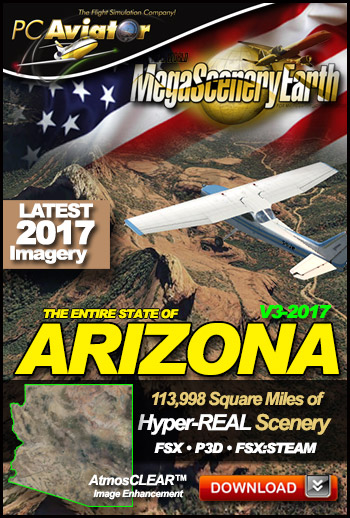 MegaSceneryEarth 3 - Arizona 2017 (FSX/FSX:SE/P3Dv1-v4)