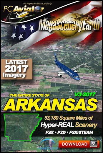 MegaSceneryEarth 3 - Arkansas 2017 (FSX/FSX:SE/P3Dv1-v4)