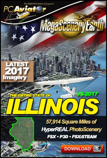 MegaSceneryEarth 3 - Illinois 2017 (FSX/FSX:SE/P3Dv1-v4)