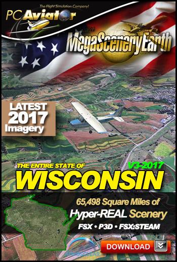MegaSceneryEarth 3 - Wisconsin 2017 (FSX/FSX:SE/P3Dv1-v4)