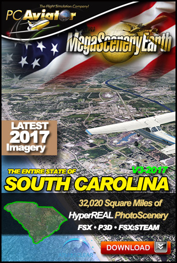 MegaSceneryEarth 3 - South Carolina 2017 (FSX/FSX:SE/P3Dv1-v4)