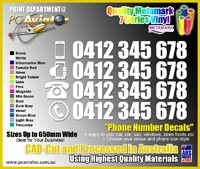 Custom Phone / Mobile Number Decal Stickers