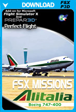 FSX Missions Alitalia B747-400 (FSX/P3Dv1-v4)